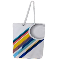 Vector Geometric Polygons And Circles Full Print Rope Handle Tote (large)