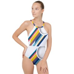 Vector Geometric Polygons And Circles High Neck One Piece Swimsuit