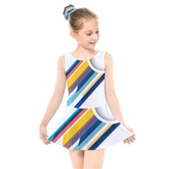 Vector Geometric Polygons And Circles Kids  Skater Dress Swimsuit