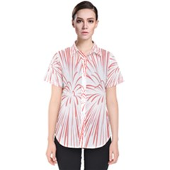 Red Firework Transparent Women s Short Sleeve Shirt