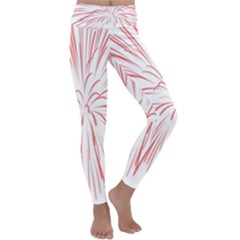 Red Firework Transparent Kids  Lightweight Velour Classic Yoga Leggings