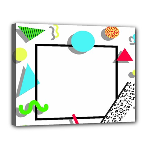 Abstract Geometric Triangle Dots Border Canvas 14  X 11  (stretched) by Alisyart