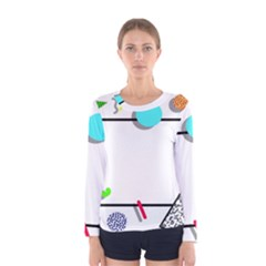 Abstract Geometric Triangle Dots Border Women s Long Sleeve Tee