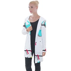 Abstract Geometric Triangle Dots Border Longline Hooded Cardigan by Alisyart