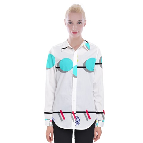 Abstract Geometric Triangle Dots Border Womens Long Sleeve Shirt by Alisyart