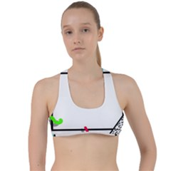 Abstract Geometric Triangle Dots Border Criss Cross Racerback Sports Bra by Alisyart