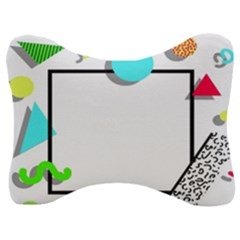 Abstract Geometric Triangle Dots Border Velour Seat Head Rest Cushion by Alisyart