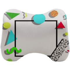 Abstract Geometric Triangle Dots Border Head Support Cushion by Alisyart