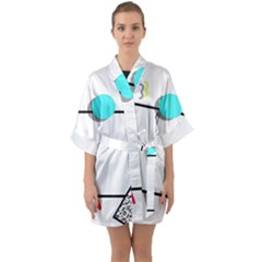 Abstract Geometric Triangle Dots Border Quarter Sleeve Kimono Robe by Alisyart