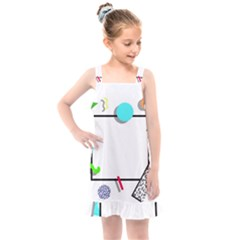 Abstract Geometric Triangle Dots Border Kids  Overall Dress