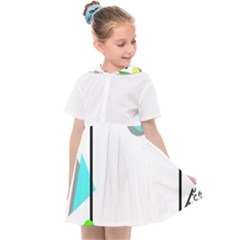Abstract Geometric Triangle Dots Border Kids  Sailor Dress