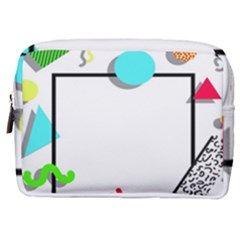 Abstract Geometric Triangle Dots Border Make Up Pouch (medium)