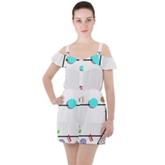Abstract Geometric Triangle Dots Border Ruffle Cut Out Chiffon Playsuit