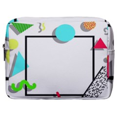 Abstract Geometric Triangle Dots Border Make Up Pouch (large)