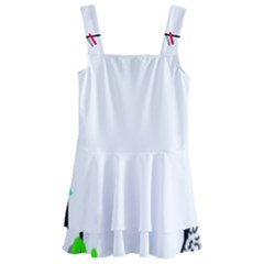 Abstract Geometric Triangle Dots Border Kids  Layered Skirt Swimsuit