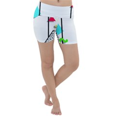 Abstract Geometric Triangle Dots Border Lightweight Velour Yoga Shorts