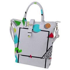 Abstract Geometric Triangle Dots Border Buckle Top Tote Bag