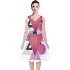 Geometric Line Patterns V Neck Midi Sleeveless Dress