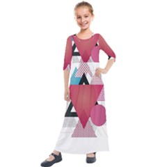Geometric Line Patterns Kids  Quarter Sleeve Maxi Dress by Mariart