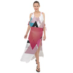 Geometric Line Patterns Maxi Chiffon Cover Up Dress