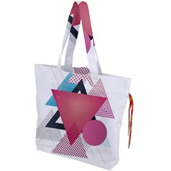 Geometric Line Patterns Drawstring Tote Bag by Mariart