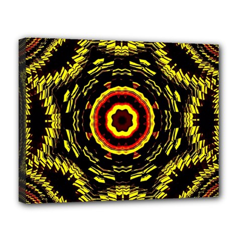 Mosaic Yellow Star Canvas 14  X 11  (stretched) by Jojostore
