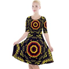 Mosaic Yellow Star Quarter Sleeve A Line Dress