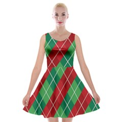 Christmas Triangle Velvet Skater Dress