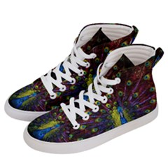 Beautiful Peacock Feather Men s Hi Top Skate Sneakers by Bejoart