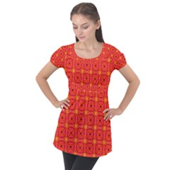 Peach Apricot Cinnamon Nutmeg Kitchen Modern Abstract Puff Sleeve Tunic Top