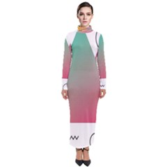 Pink Abstract Triangle Turtleneck Maxi Dress by Jojostore