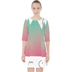 Pink Abstract Triangle Pocket Dress