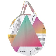 Pink Abstract Triangle Giant Round Zipper Tote