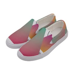 Pink Abstract Triangle Women s Canvas Slip Ons by Jojostore