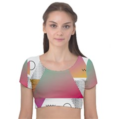 Pink Abstract Triangle Velvet Short Sleeve Crop Top