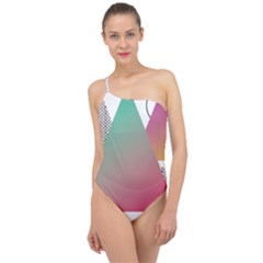 Pink Abstract Triangle Classic One Shoulder Swimsuit