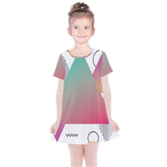 Pink Abstract Triangle Kids  Simple Cotton Dress by Jojostore