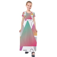 Pink Abstract Triangle Kids  Short Sleeve Maxi Dress by Jojostore
