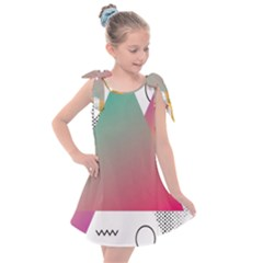 Pink Abstract Triangle Kids  Tie Up Tunic Dress