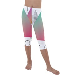 Pink Abstract Triangle Kids  Lightweight Velour Capri Leggings