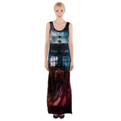 Doctor Who Tardis In Space Maxi Thigh Split Dress