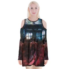 Doctor Who Tardis In Space Velvet Long Sleeve Shoulder Cutout Dress