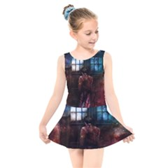 Doctor Who Tardis In Space Kids  Skater Dress Swimsuit