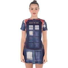 Doctor Who Tardis Drop Hem Mini Chiffon Dress