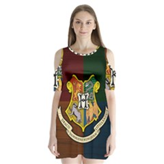 Hogwarts Shoulder Cutout Velvet One Piece
