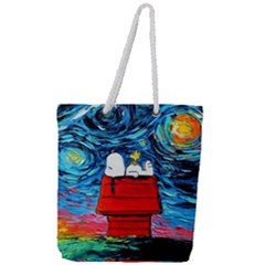 Dog Painting Stary Night Vincet Van Gogh Parody Full Print Rope Handle Tote (large)