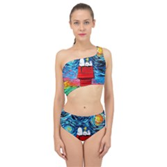 Dog Painting Stary Night Vincet Van Gogh Parody Spliced Up Two Piece Swimsuit