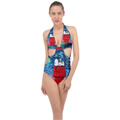 Dog Painting Stary Night Vincet Van Gogh Parody Halter Front Plunge Swimsuit