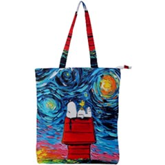 Dog Painting Stary Night Vincet Van Gogh Parody Double Zip Up Tote Bag