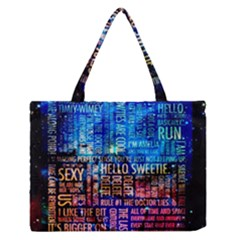 Doctor Who Quotes,trust Me Im Doctor Zipper Medium Tote Bag by Bejoart